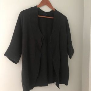 Black wool Gap open sweater short sleeve S M fall